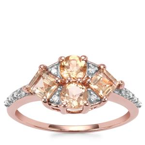 Ouro Preto Imperial Topaz Ring with Diamond in 10K Rose Gold 1.31cts