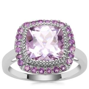 Rose De France Amethyst Ring with Bahia Amethyst in Sterling Silver 3.87cts