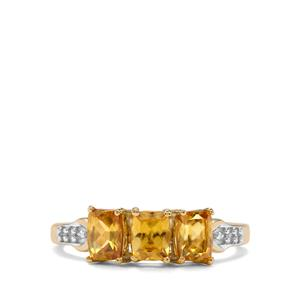 Morafeno Sphene & Diamond 9K Gold Ring ATGW 1.37cts