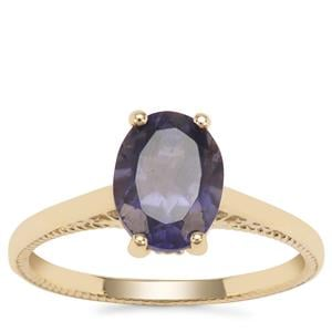 Bengal Iolite Ring with White Zircon in 9K Gold 1.48cts
