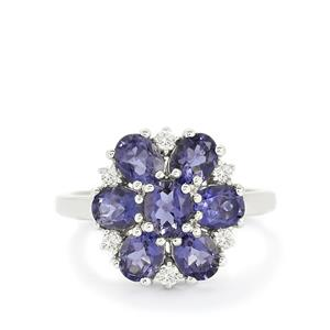Bengal Iolite & White Topaz Sterling Silver Ring ATGW 2.07cts