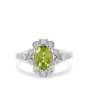 Red Dragon Peridot Ring with White Zircon in Sterling Silver 2.35cts