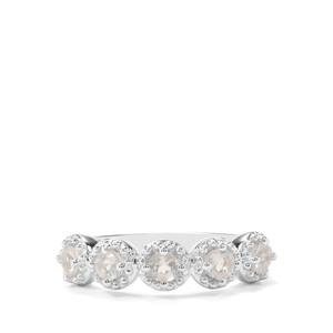 0.53ct Plush Diamond Sunstone Sterling Silver Ring