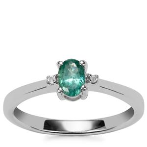 Zambian Emerald Ring with Diamond in Sterling Silver 0.38cts