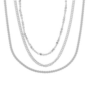 """18"""" Sterling Silver Set of 3 Chains 3.27g"""