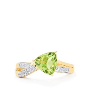 Pakistani Peridot Ring with White Zircon in 9K Gold 2.06cts