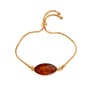 Baltic Cognac Amber Slider Bracelet in Gold Tone Sterling Silver (24 x 13mm)