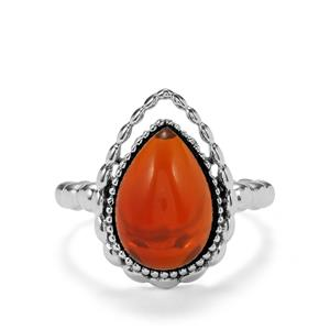 3.55ct American Fire Opal Sterling Silver Ring