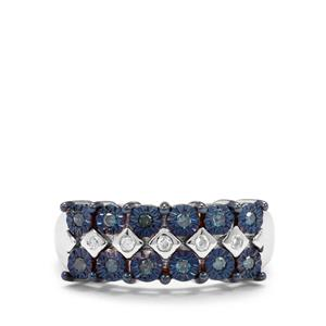 Blue Diamond Ring with White Diamond in Sterling Silver 0.20ct
