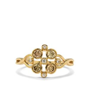 Natural Coloured Diamond Ring with White Diamond in 18K Gold 0.52ct