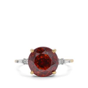 Sphalerite Ring with White Zircon in 9K Gold 6cts
