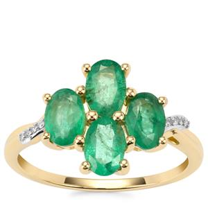 Zambian Emerald Ring with Diamond in 9K Gold 1.76cts