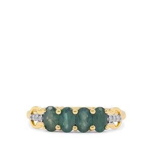 Grandidierite & Diamond 9K Gold Ring ATGW 0.95ct