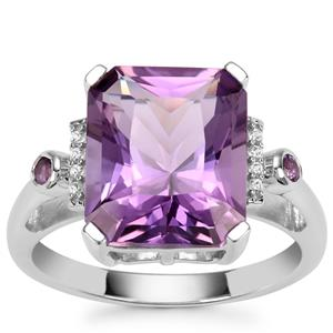 Barion Cut Zambian Amethyst Ring with White Zircon in Sterling Silver 5.49cts