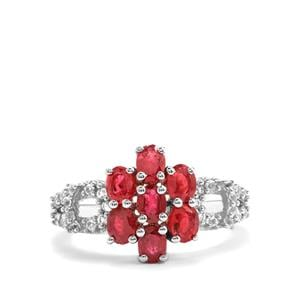 Malagasy Ruby Ring with White Topaz in Sterling Silver 2.21cts (F)