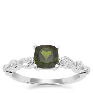 Chrome Diopside Ring with White Zircon in Sterling Silver 1.14cts