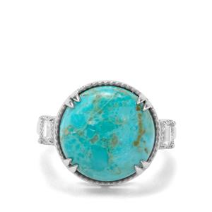 Cochise Turquoise & White Zircon Sterling Silver Ring ATGW 9.76cts