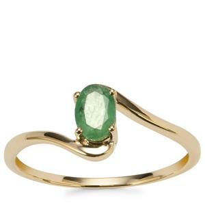 Luhlaza Emerald Ring in 9K Gold 0.42ct