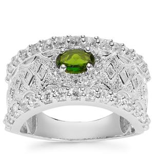 Chrome Diopside Ring with White Zircon in Sterling Silver 2.12cts