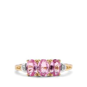 Sakaraha Pink Sapphire & Diamond 9K Gold Ring ATGW 1.39cts