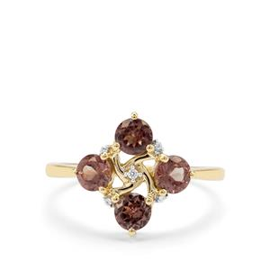 Bekily Colour Change Garnet & White Zircon 9K Gold Ring ATGW 1.32cts
