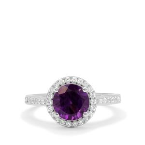 Zambian Amethyst Ring with White Zircon in Sterling Silver 2.10cts