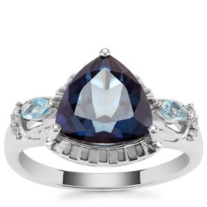 Hope, Swiss Blue Topaz Ring with White Zircon in Sterling Silver 4.28cts