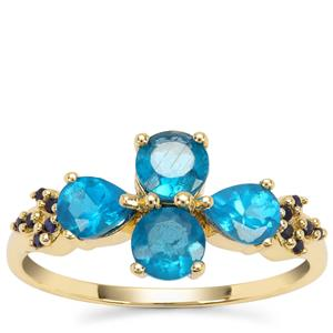 Neon Apatite Ring with Ceylon Blue Sapphire in 9K Gold 1.40cts