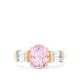 Mawi Kunzite Ring with White Zircon in 10k Gold 3.22cts