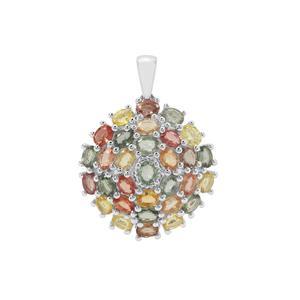 7.50ct Songea Multi Sapphire Sterling Silver Pendant