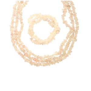 Rose Quartz 3 Row Set of Nugget Necklace & Twisted Stretchable Nugget Bracelet in 925 540cts