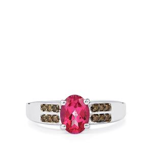 Mystic Pink Topaz Ring with Champagne Diamond in Sterling Silver 1.62cts
