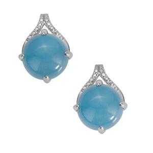 Blue Jade Earrings in Sterling Silver 9.72cts