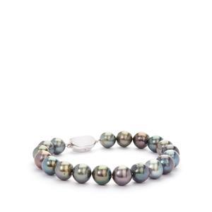Tahitian Cultured Pearl (9x9mm) Sterling Silver Bracelet.