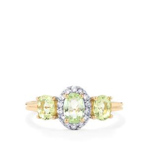 Mozambique Mint Tourmaline Ring with White Zircon in 10K Gold 1.33cts