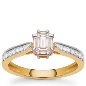 Pie Cut Diamond Ring in 18K Gold 0.39cts