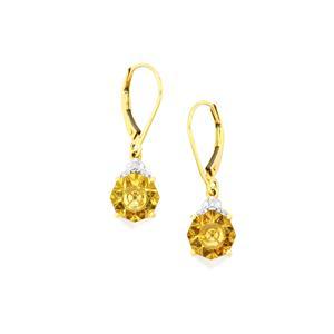 Lehrer KaleidosCut Champagne Quartz, Gouveia Andalusite & Diamond 10K Gold Earrings ATGW 3.42cts