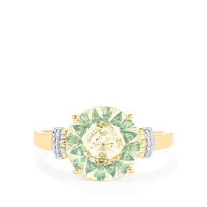 Lehrer KaleidosCut White, Fern Green Topaz & Diamond 9K Gold Ring ATGW 3.77cts