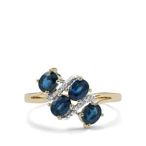 Australian Blue Sapphire Ring with Diamond in 9K Gold 1.47cts