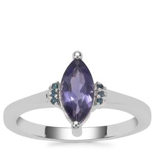 Bengal Iolite Ring with Blue Diamond in Sterling Silver 0.83ct