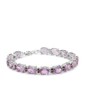 Rose De France Amethyst & Rajasthan Garnet Sterling Silver Bracelet ATGW 29.70cts