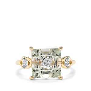 Lehrer TorusRing Prasiolite & Diamond 9K Gold Ring ATGW 3.76cts