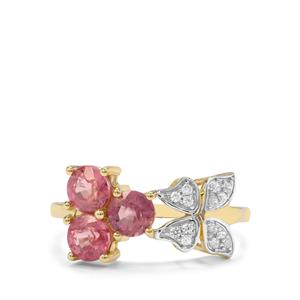 Padparadscha Sapphire & White Zircon 9K Gold Tomas Rae Ring ATGW 2cts