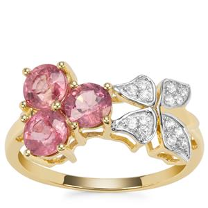 Padparadscha Sapphire Ring with White Zircon in 9K Gold 2cts
