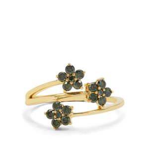 1/2ct Green Diamond Gold Tone Sterling Silver Ring