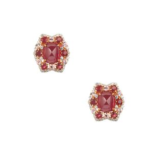 Malagasy Ruby, Pink Sapphire Earrings with Pink Sapphire in Gold Plated Sterling Silver 21.87cts (F)