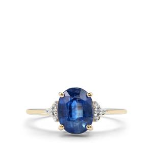Daha Kyanite Ring with White Zircon in 10k Gold 2.39cts