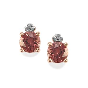 Zanzibar Zircon & Diamond 10K Rose Gold Earrings ATGW 2.53cts
