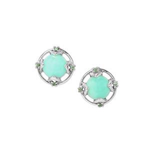 Prase Green Opal Earrings with Tsavorite Garnet in Sterling Silver 2.58cts