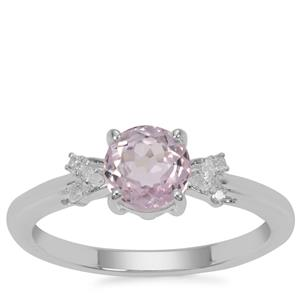 Natural Brazilian Kunzite Ring with Diamond in Sterling Silver 1.19cts